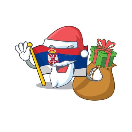 Santa with gift Serbian flags stored in cartoon drawer