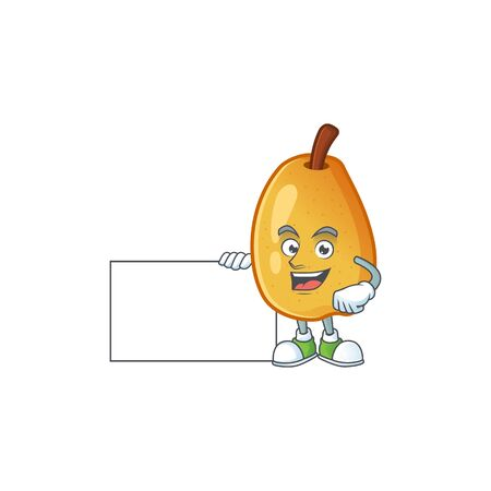 Thumbs up with board fragrant pear in cartoon character style vector illustration