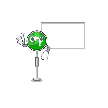Thumbs up with board turn left isolated with the cartoon