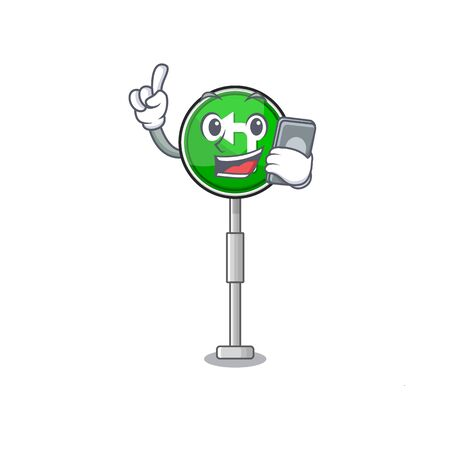 With phone turn left isolated with the cartoon vector illustration Illustration