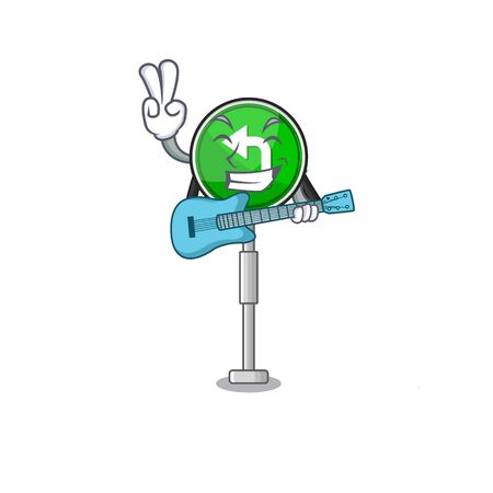 With guitar turn left character shaped with mascot