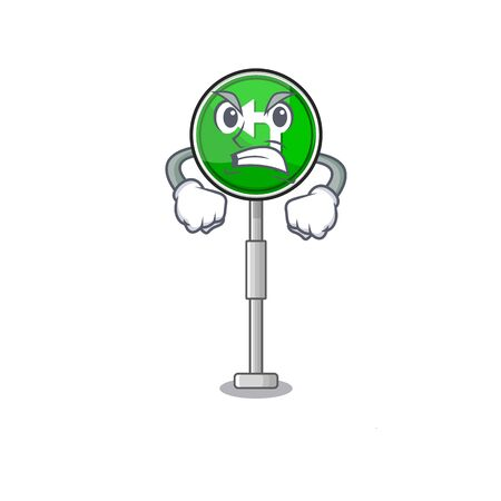 Angry turn left character shaped with mascot