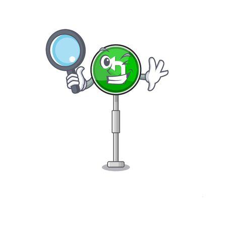 Detective turn left cartoon on side mascot road Фото со стока - 129704835