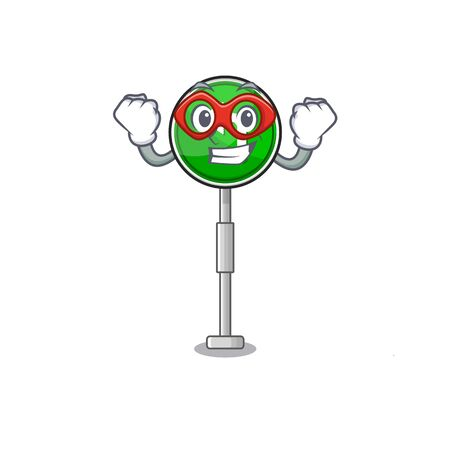 Super hero turn left cartoon on side mascot road Фото со стока - 129704391