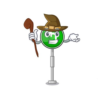 Witch turn left character shaped with mascot