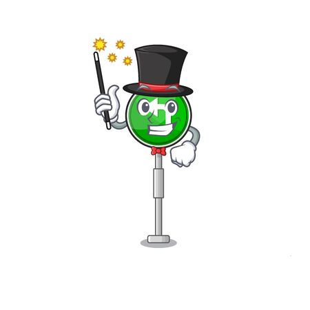 Magician turn left the on a character vector illustration Stock Illustratie