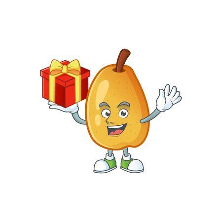 Bring gift fragrant pear cartoon character with mascot vector illustration Archivio Fotografico - 129702708
