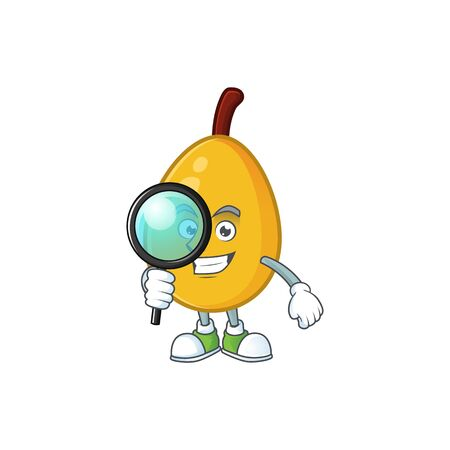 Detective fresh loquat cute cartoon character style. vector illustration Illustration