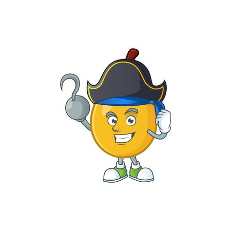Pirate fruit loquat fresh mascot character shape vector illustration