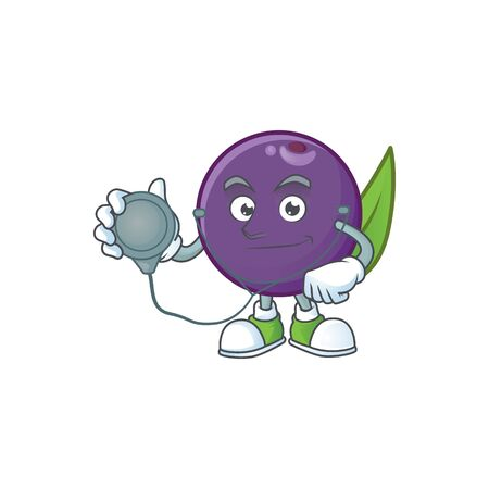 Doctor acai berries cartoon on white background vector illustration  イラスト・ベクター素材