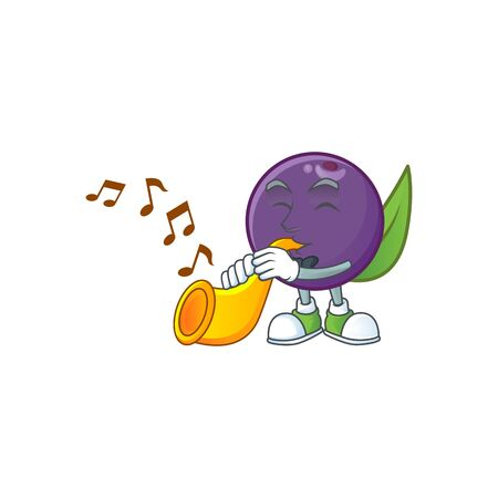 With trumpet acai berries cartoon character with mascot vector illustration