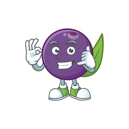 Call me acai berries character for fresh fruit vector illustration Illustration