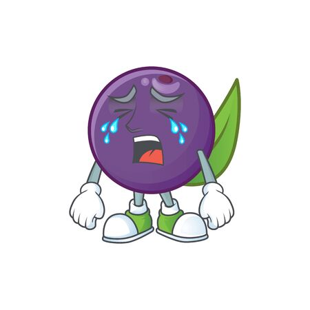 Crying acai berries cartoon character with mascot vector illustration