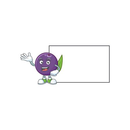 With board acai berries cartoon on white background