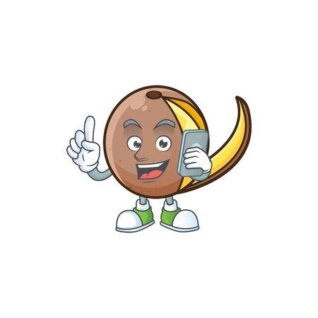With phone bambangan fruit cartoon character with mascot
