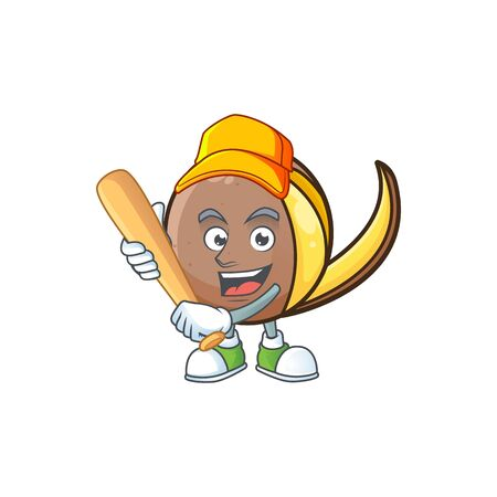 Playing baseball bambangan fruit cartoon character with mascot Ilustração