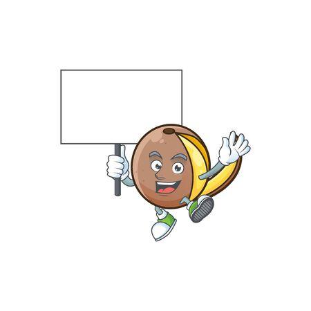 Bring board bambangan fruit cartoon character with mascot Illustration