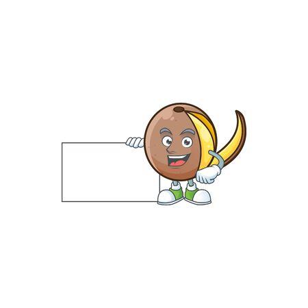 Thumbs up with board bambangan fruit cartoon character with mascot Illustration
