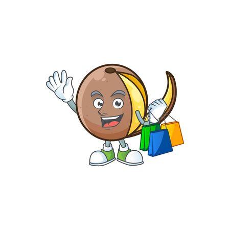 Shopping cartoon bambangan fruit isolated on white background