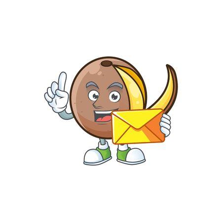 With envelope cartoon bambangan fruit isolated on white background Stock Illustratie