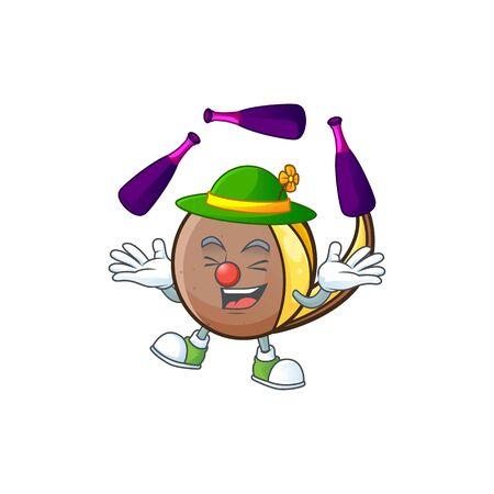 Juggling bambangan fruit with concept cartoon character