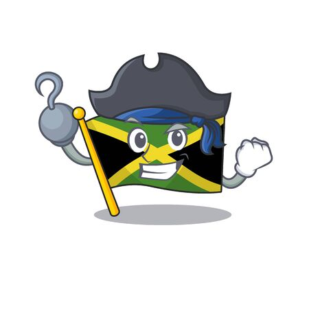 Pirate flag jamaica isolated with the cartoon vector illustration