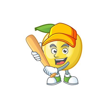 Playing baseball golden apple with cartoon character style Ilustração