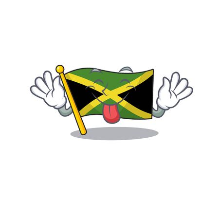 Tongue out jamaica flag folded in character drawer vector illustration