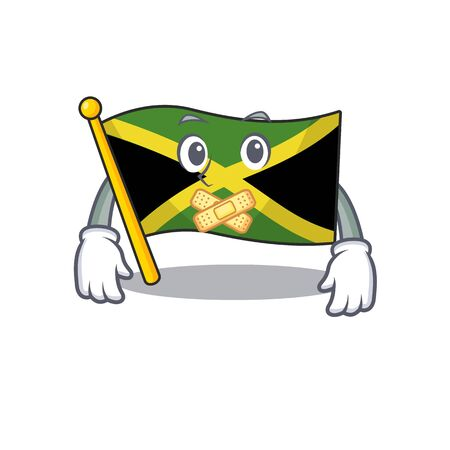 Silent jamaica flag folded in character drawer vector illustration Çizim