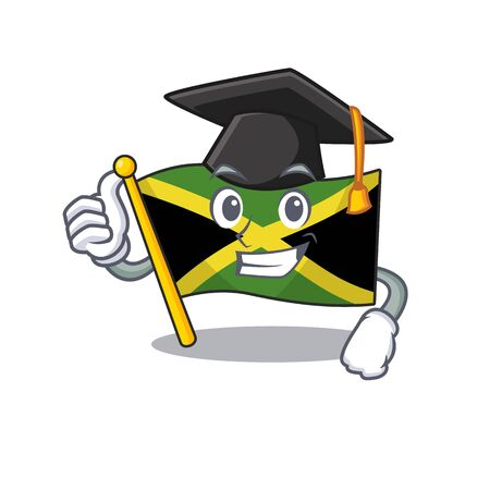 Graduation cartoon jamaica flag hoisted on mascot pole vector illustration