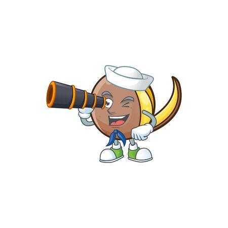 Sailor with binocular cute bambangan fruit in cartoon mascot