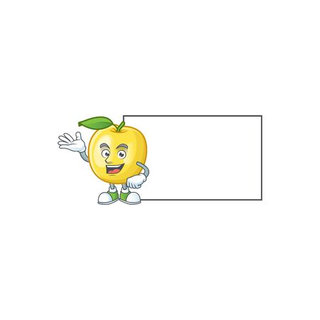 With board golden apple with cartoon character style Illustration
