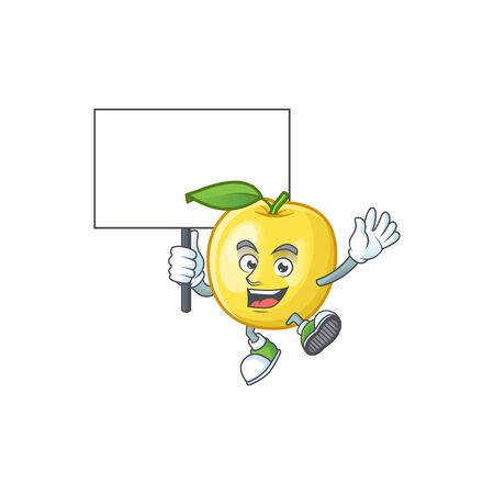 Bring board golden apple with cartoon character style