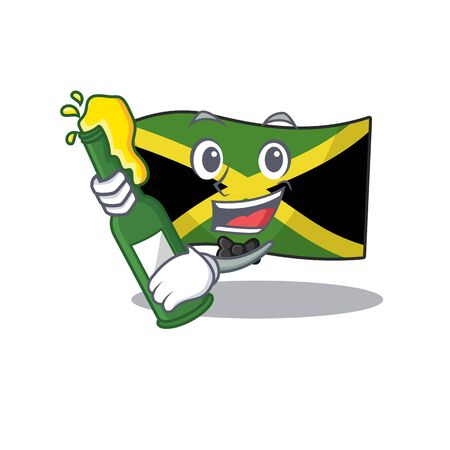 With beer jamaica flag folded in character drawer vector illustration Иллюстрация