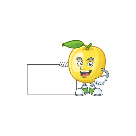 Thumbs up with board golden apple with cartoon character style