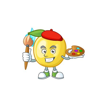 Painter golden apple with cartoon character style