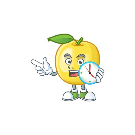With clock golden apple fruit cartoon on white background