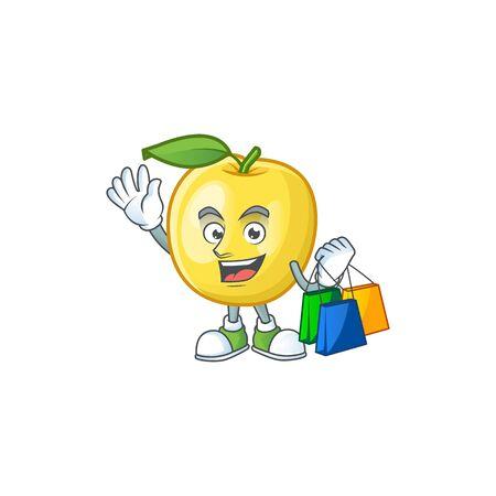Shopping golden apple fruit cartoon on white background