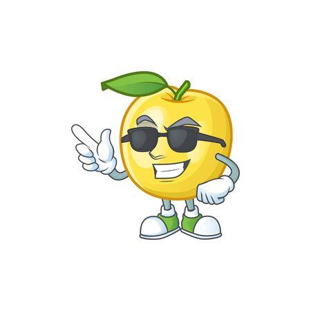 Dibujos animados de frutas de manzana dorada super cool sobre fondo blanco