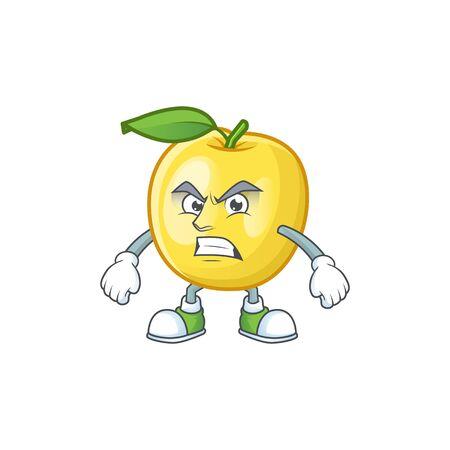 Scream golden apple fruit cartoon on white background