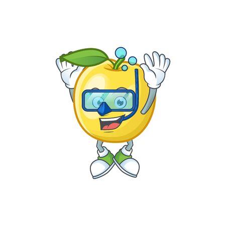 Diving golden apple fruit cartoon on white background