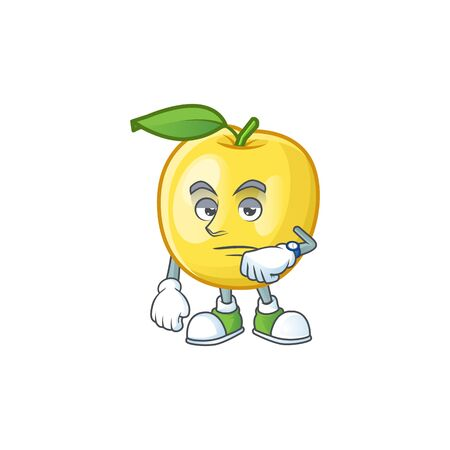 Waiting shape golden apple fruits for character mascot