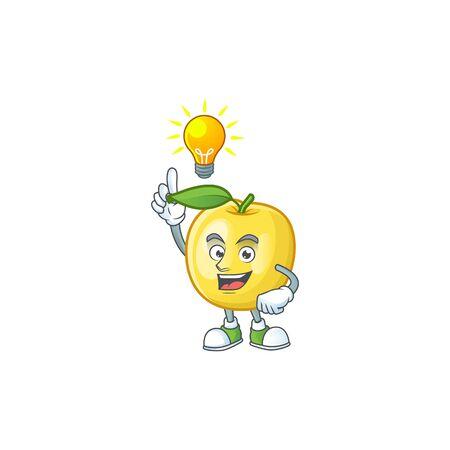 Have an idea shape golden apple fruits for character mascot Standard-Bild - 129792281