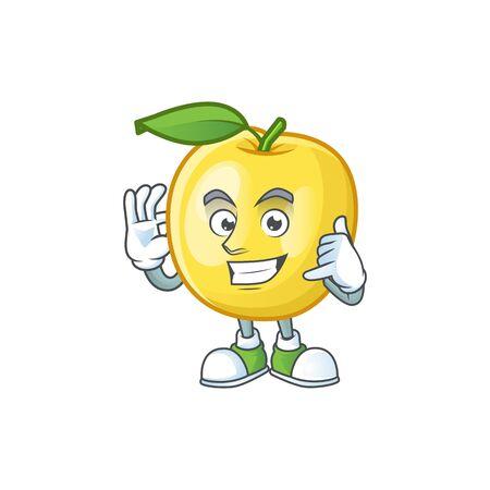 Call me shape golden apple fruits for character mascot Illustration