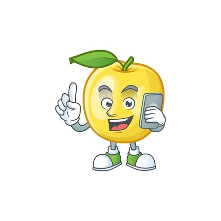 With phone golden apple with cartoon character style Illustration