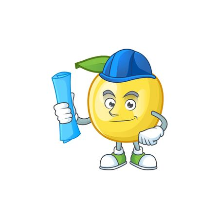 Architect golden apple fruit cartoon on white background