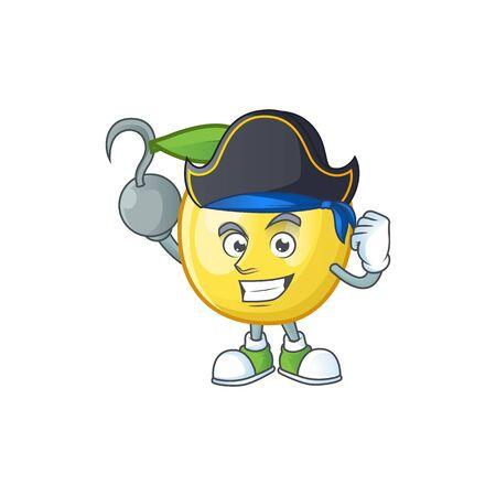 Pirate golden apple with cartoon character style Illusztráció