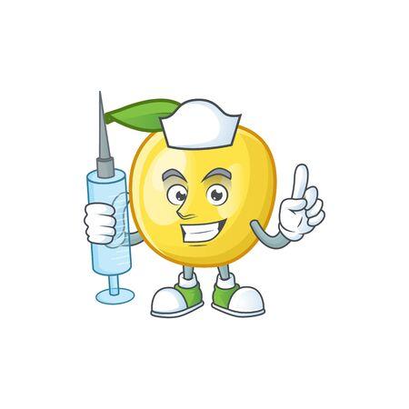 Nurse golden apple fruit cartoon on white background