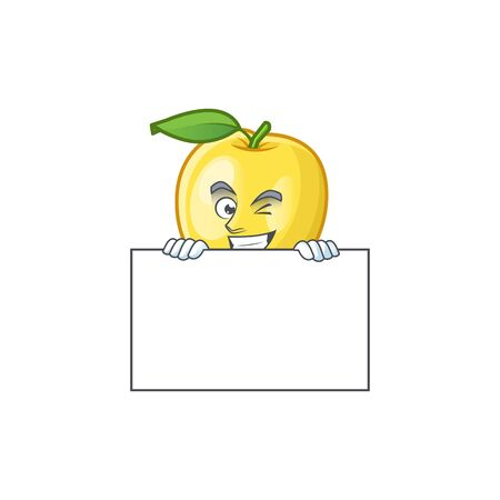Grinning with board golden apple with cartoon character style Illustration