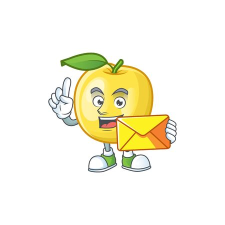 With envelope golden apple fruit cartoon on white background